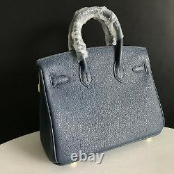 Deep Blue 25cm Genuine Leather Shopper Tote Handbag Top Handle Satchel