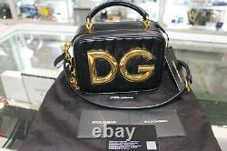 Dolce & Gabbana DG Gold Metal Logo Quilted Black Leather Top Handle Chain Bag