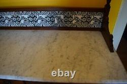 Edwardian White Carrara Marble Tiled Top Washstand Table & Mahogany drawers