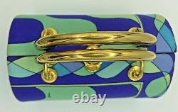 Emilio Pucci Vintage 1960's Box Bag Purse Blue Green Silk Gold Top Handle
