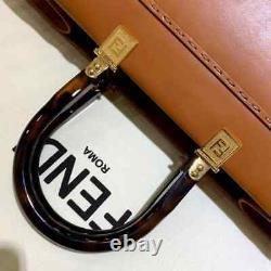 FENDI SUNSHINE SHOPPER Brown Leather Two Top Handles- FENDI ROMA TOTE NWT