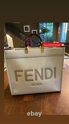 FENDI SUNSHINE SHOPPER White Leather Two Top Handles- FENDI ROMA TOTE NWT-Large