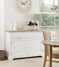 FLORENCE White Sideboard, Stunning kitchen cupboard with acacia top, ASSEMBLED