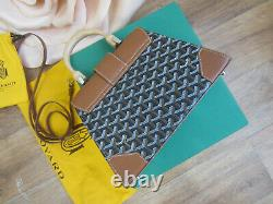 GOYARD SAIGON PM Coated Canvas & Leather TOP HANDLE BAG WithSTRAP Women