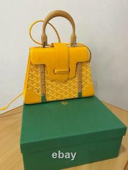GOYARD SAIGON PM YELLOW Coated Canvas & Leather TOP HANDLE BAG WithSTRAP