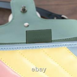 GUCCI 2790$ GG Marmont Mini Top Handle Bag In Multicolored Pastel Leather