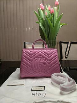 GUCCI Calfskin Matelasse Small GG Marmont Top Handle Bag Pink, New, Ori$2800