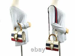 GUCCI Dionysus Bamboo Top Handle Shoulder Bag White/Red/Blue Leather/Gold 98533c
