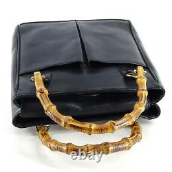 GUCCI Vintage Bamboo & Leather Mini Top Handle Grab Bag in Black Italy Y2K