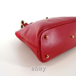 GUCCI Vintage Bamboo & Leather Mini Top Handle Grab Bag in Red Italy Y2K