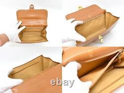 GUCCI Vintage Leather Top Handle Flap Hand Bag Beige Gold
