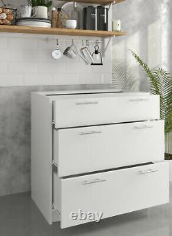 Greta Kitchen 800 Drawer Base Unit White