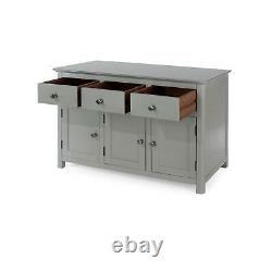 Grey 3 Door 3 Drawer Sideboard Storage Unit Metal Handles Toughened Glass Top