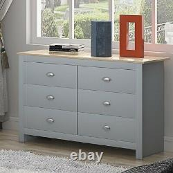 Grey Chest of 6 Drawers. Traditional Design. Light Oak Top. Cup Handles 112cm Wide