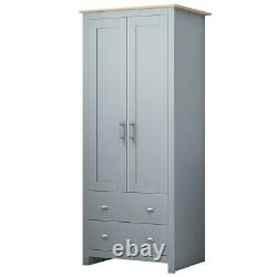 Grey Traditional 2 Door 2 Drawer Wardrobe. Oak Top. Metal Handles & Hanging Rail