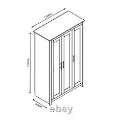Grey Traditional 3 Door Triple Wardrobe. Light Oak Top. Metal Bar Handles