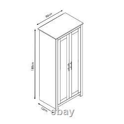 Grey Wardrobe 2 Door Traditional Design. Light Oak Top Metal Handles. Soft Close
