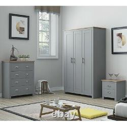 Grey Wardrobe 3 Door Traditional Design. Light Oak Top. Metal Handles. Soft Close