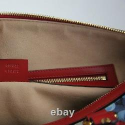 Gucci Beige/Blue GG Coated Canvas Bloom Boston Top Handle Bag withBox 409527 8492