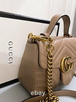 Gucci GG Marmont Mini Top Handle Leather Dusty Rose Gold Hardware