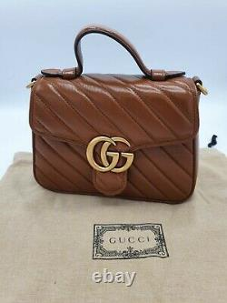 Gucci Marmont Mini Top Handle Bag Brown Leather