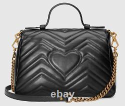 Gucci Marmont Small Top Handle Black Leather Matelasse Shoulder Crossbody Bag