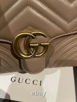 Gucci Marmont Small Top Handle Nude Pink Leather Matelasse Shoulder Bag