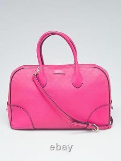 Gucci Pink Diamante Textured Leather Top Handle Satchel Bag