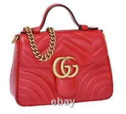 Gucci Red GG Marmont Mini Top Handle Bag 547260 DTDIT 6433