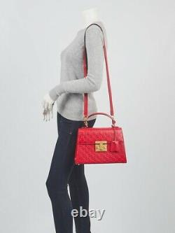 Gucci Red Guccissima Leather Signature Padlock Small Top Handle Bag