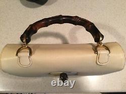 Gucci Vintage Convertible Bamboo Top Handle Bag Leather Medium