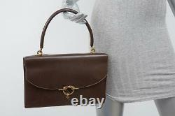 HERMES VINTAGE Dark Brown Leather Flap Top-Handle Accordian Bag Handbag Purse