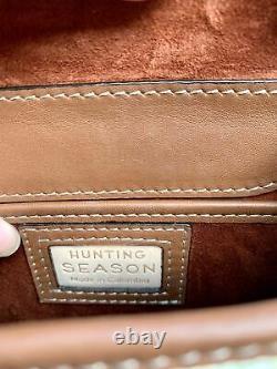 Hunting Season small leather and raffia top handle bag