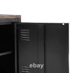 Industrial Sideboard Cupboard Rustic Top Metal Locker Storage Cabinet with Doors
