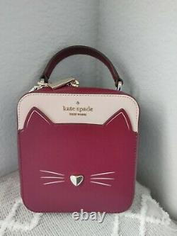 Kate Spade Daisy Vanity Crossbody Meow Cat Leather Bag Top Handle Purse NWT