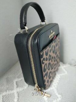 Kate Spade New York Daisy Vanity Crossbody Leopard Leather Bag Top Handle Purse