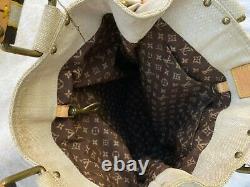 LOUIS VUITTON Globe Shopper White Yellow Canvas Front Zip Top Handle Tote M