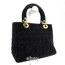Lady Dior Vintage Cannage Canvas Small Top Handle Bag in Black Made in Italy