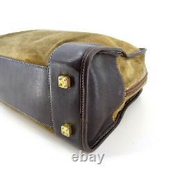 Loewe Vintage Suede Leather Top Handle Tote Bag in Brown Y2K