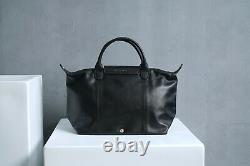 Longchamp Ladies LE PLIAGE BLACK CUIR TOP HANDLE BAG S