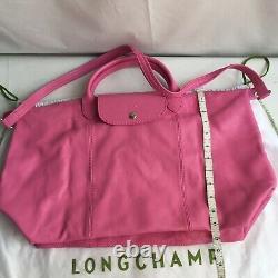 Longchamp Le Pliage Cuir Leather Large Crossbody Bag Top Handle Pink