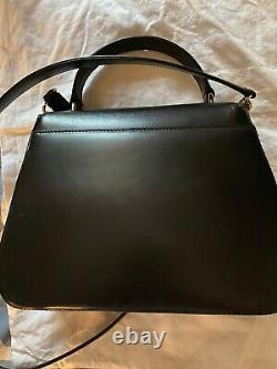 Mark Cross Black Leather Top Handle Kelly Bag Italy