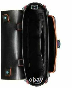 Michael Kors Manhattan Medium Top Handle Satchel Black neon Contrast Trim Studs