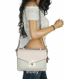 Michael Kors Rose MD Top Handle Messenger Bag Mk Signature Vanilla Pink Blush