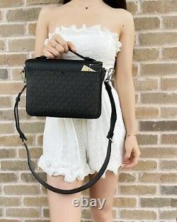Michael Kors Rose Medium Top Handle Messenger Flap Bag Crossbody Black MK