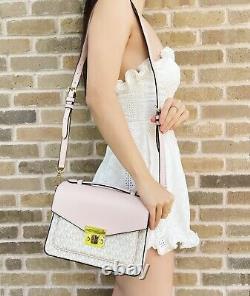 Michael Kors Rose Top Handle Medium Messenger Crossbody Vanilla MK Blush Pink