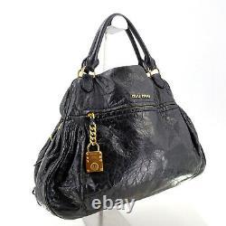Miu Miu by Prada Vintage Black Leather Large Tote Top Handle Bag Made in Italy