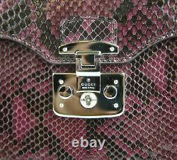 NEW Authentic GUCCI'Lady Lock' Python Top Handle Bag Wine Purple 331823 5227