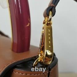 NWT $1995 Marni Pannier flap brown crossbody bag resin top handle handbag