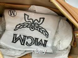 NWT Auth $750 MCM Boston Monogram Logo Top handle Leather Satchel CrossBody